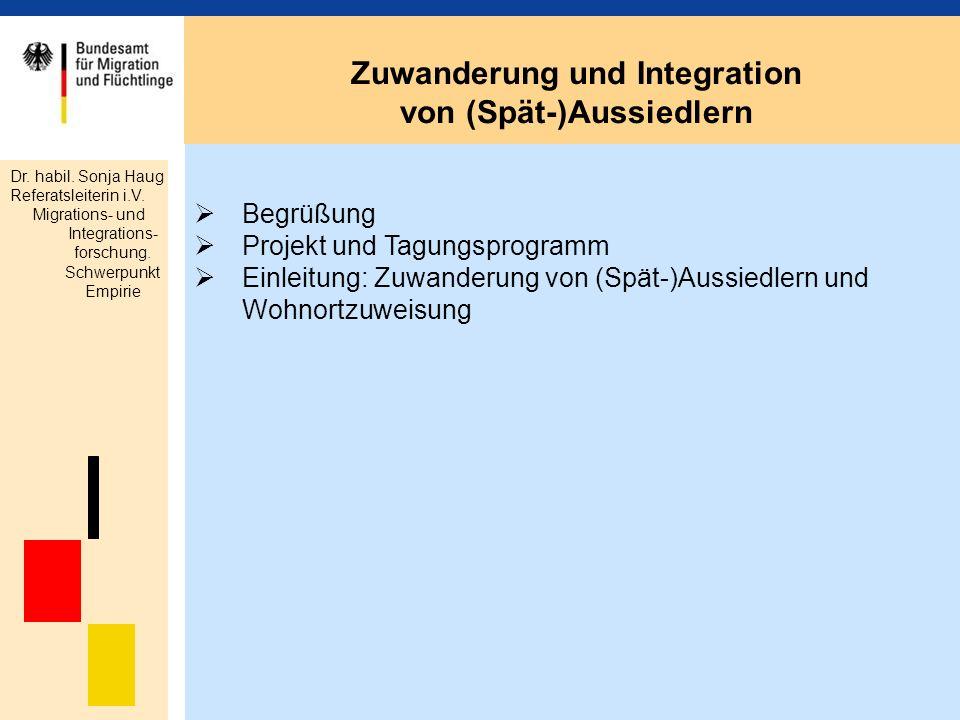 Begrüßung Projekt und Tagungsprogramm Einleitung: Zuwanderung von (Spät-)Aussiedlern und Wohnortzuweisung Zuwanderung und Integration von (Spät-)Aussi