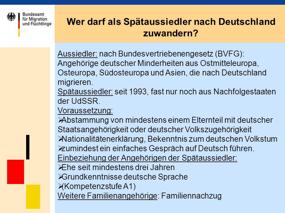 Aussiedler: nach Bundesvertriebenengesetz (BVFG): Angehörige deutscher Minderheiten aus Ostmitteleuropa, Osteuropa, Südosteuropa und Asien, die nach D