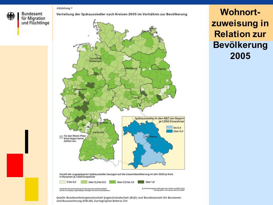 Wohnort- zuweisung in Relation zur Bevölkerung 2005
