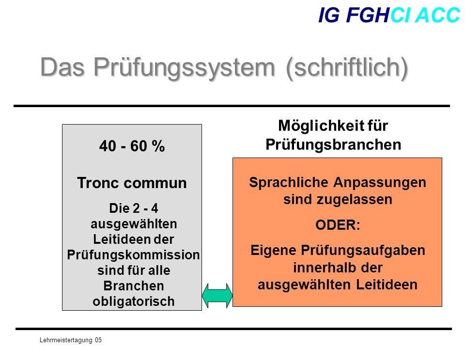 Lehrmeistertagung 05 IG FGHCI ACC Das Prüfungssystem (schriftlich) 40 - 60 % Tronc commun Die 2 - 4 ausgewählten Leitideen der Prüfungskommission sind