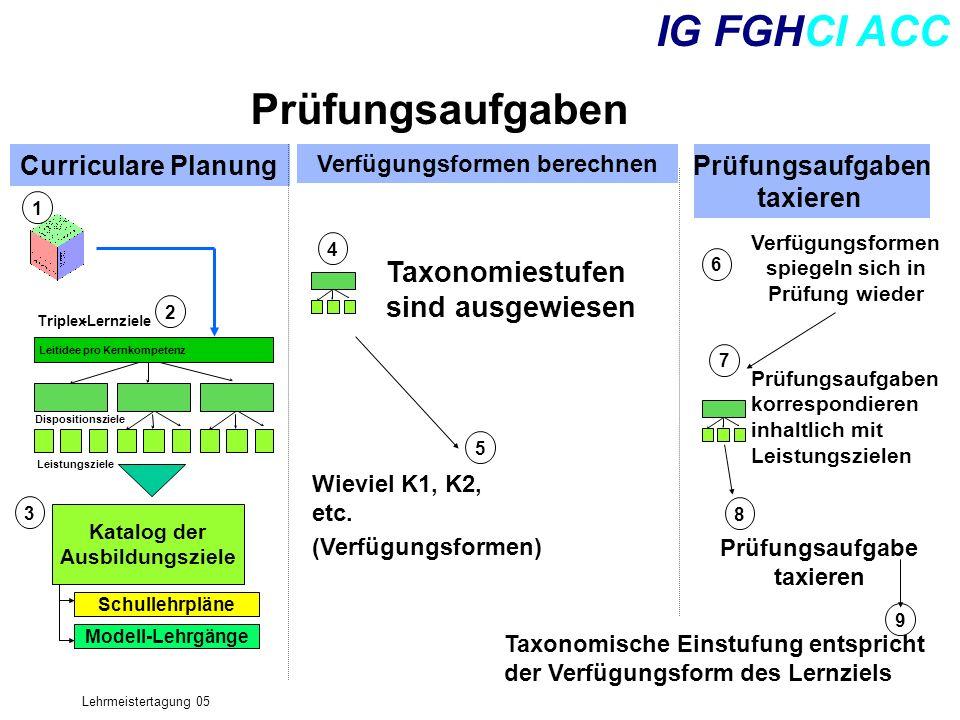 Lehrmeistertagung 05 IG FGHCI ACC Prüfungsaufgaben Curriculare Planung Verfügungsformen berechnen Prüfungsaufgaben taxieren Triplex-Lernziele Leitidee