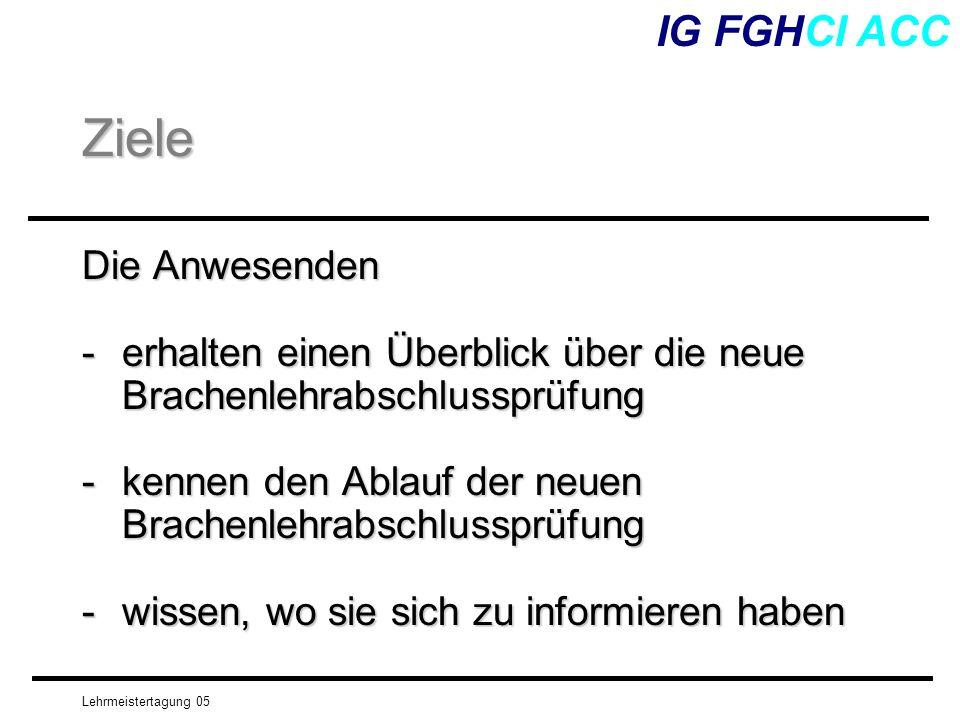 Lehrmeistertagung 05 IG FGHCI ACC Das Prüfungssystem (schriftlich) Leitidee pro Kernkompetenz Dispo-sitions-ziele Leistungsziele Was können.