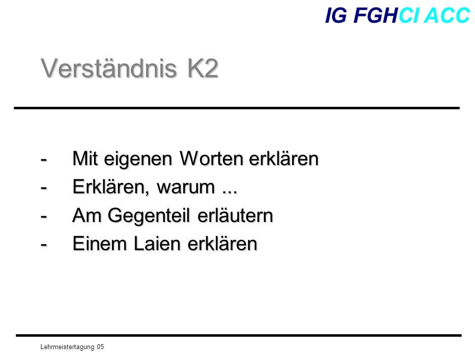 Lehrmeistertagung 05 -Mit eigenen Worten erklären - Erklären, warum... -Am Gegenteil erläutern -Einem Laien erklären IG FGHCI ACC Verständnis K2