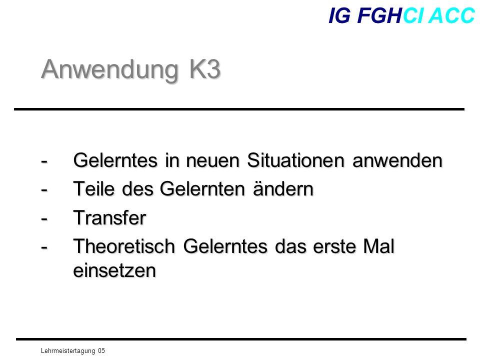 Lehrmeistertagung 05 -Gelerntes in neuen Situationen anwenden -Teile des Gelernten ändern -Transfer -Theoretisch Gelerntes das erste Mal einsetzen IG