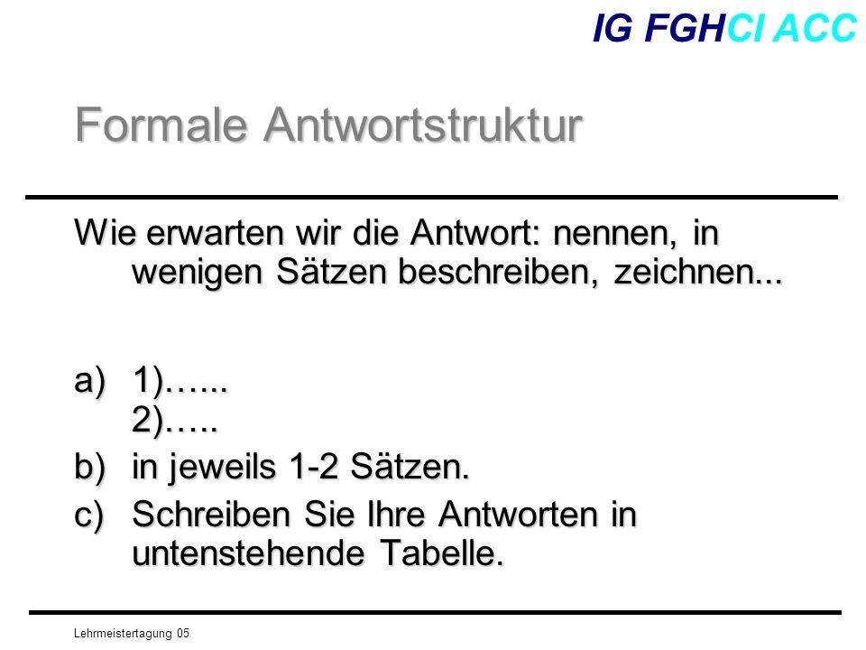 Lehrmeistertagung 05 Wie erwarten wir die Antwort: nennen, in wenigen Sätzen beschreiben, zeichnen... a)1)…... 2)….. b)in jeweils 1-2 Sätzen. c)Schrei