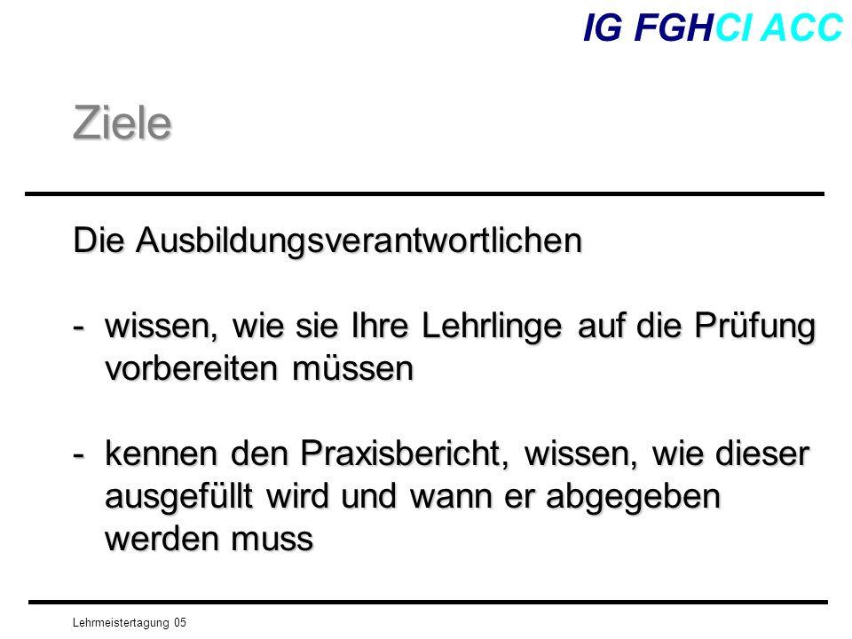 Lehrmeistertagung 05 IG FGHCI ACC Vom Leistungsziel zur Prüfungsaufgabe Das Endresultat eines Leistungsziels kann man - beobachten - sehen - lesen usw.