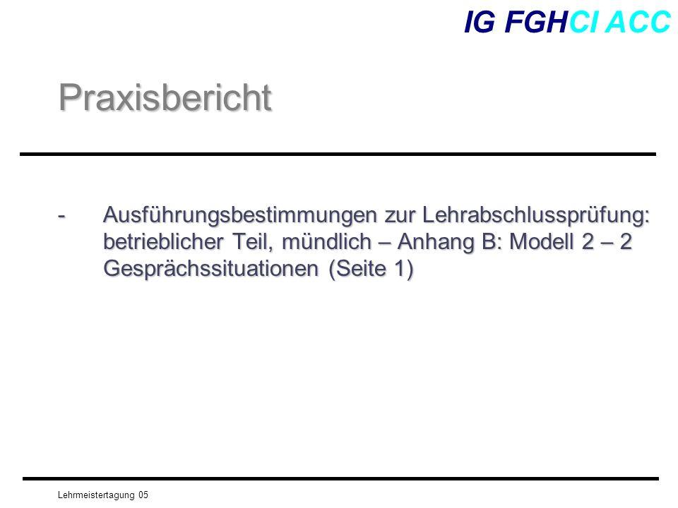 Lehrmeistertagung 05 -Ausführungsbestimmungen zur Lehrabschlussprüfung: betrieblicher Teil, mündlich – Anhang B: Modell 2 – 2 Gesprächssituationen (Se