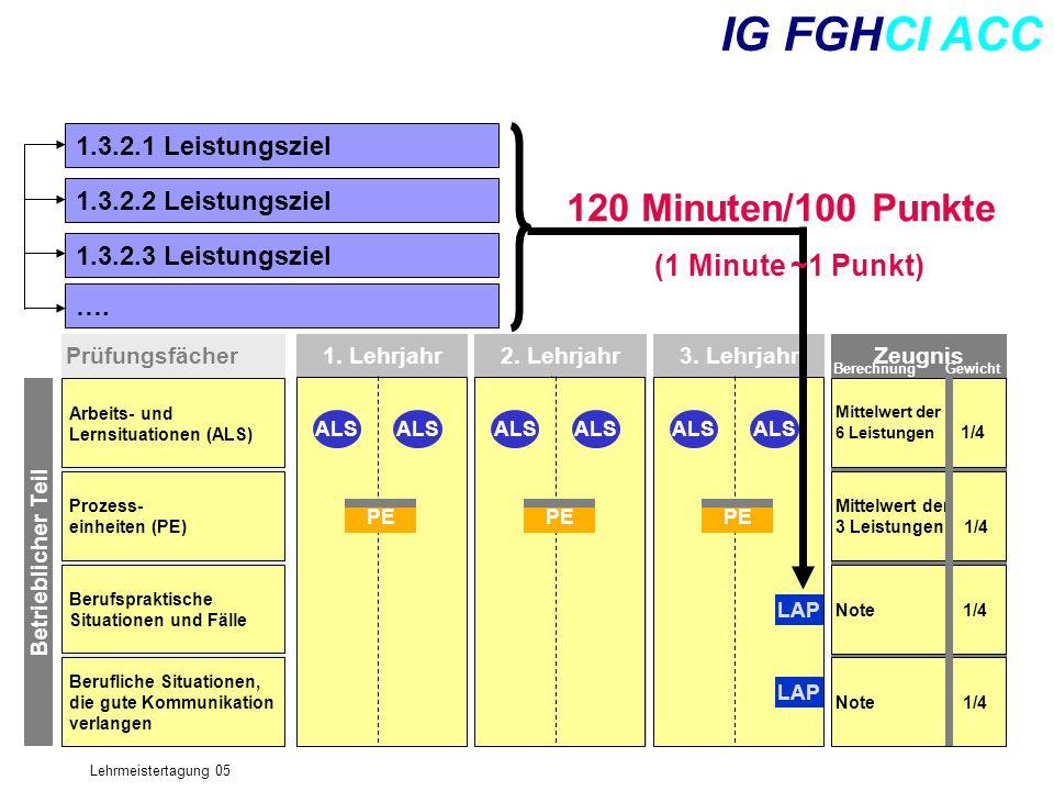 Lehrmeistertagung 05 IG FGHCI ACC Prüfungsfächer Arbeits- und Lernsituationen (ALS) Prozess- einheiten (PE) Berufspraktische Situationen und Fälle Ber