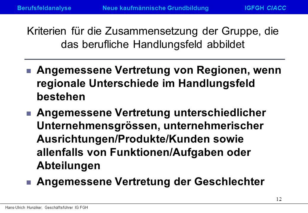 Berufsfeldanalyse Neue kaufmännische GrundbildungIGFGH CIACC Hans-Ulrich Hunziker, Geschäftsführer IG FGH 12 Kriterien für die Zusammensetzung der Gru