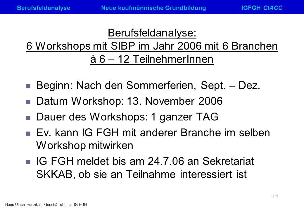 Berufsfeldanalyse Neue kaufmännische GrundbildungIGFGH CIACC Hans-Ulrich Hunziker, Geschäftsführer IG FGH 14 Berufsfeldanalyse: 6 Workshops mit SIBP i