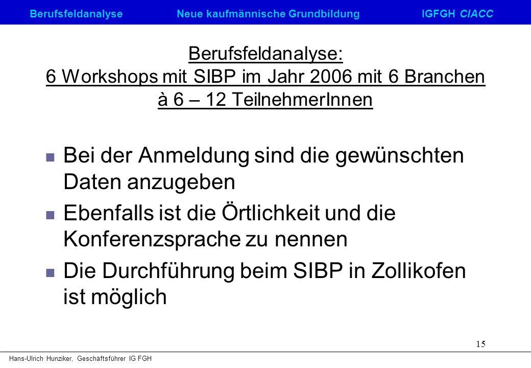 Berufsfeldanalyse Neue kaufmännische GrundbildungIGFGH CIACC Hans-Ulrich Hunziker, Geschäftsführer IG FGH 15 Berufsfeldanalyse: 6 Workshops mit SIBP i