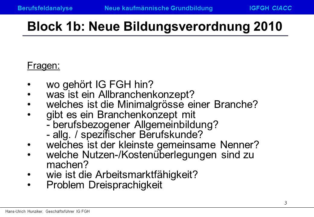 Berufsfeldanalyse Neue kaufmännische GrundbildungIGFGH CIACC Hans-Ulrich Hunziker, Geschäftsführer IG FGH 3 Block 1b: Neue Bildungsverordnung 2010 Fra