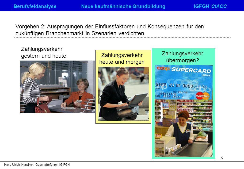 Berufsfeldanalyse Neue kaufmännische GrundbildungIGFGH CIACC Hans-Ulrich Hunziker, Geschäftsführer IG FGH 9 Vorgehen 2: Ausprägungen der Einflussfakto