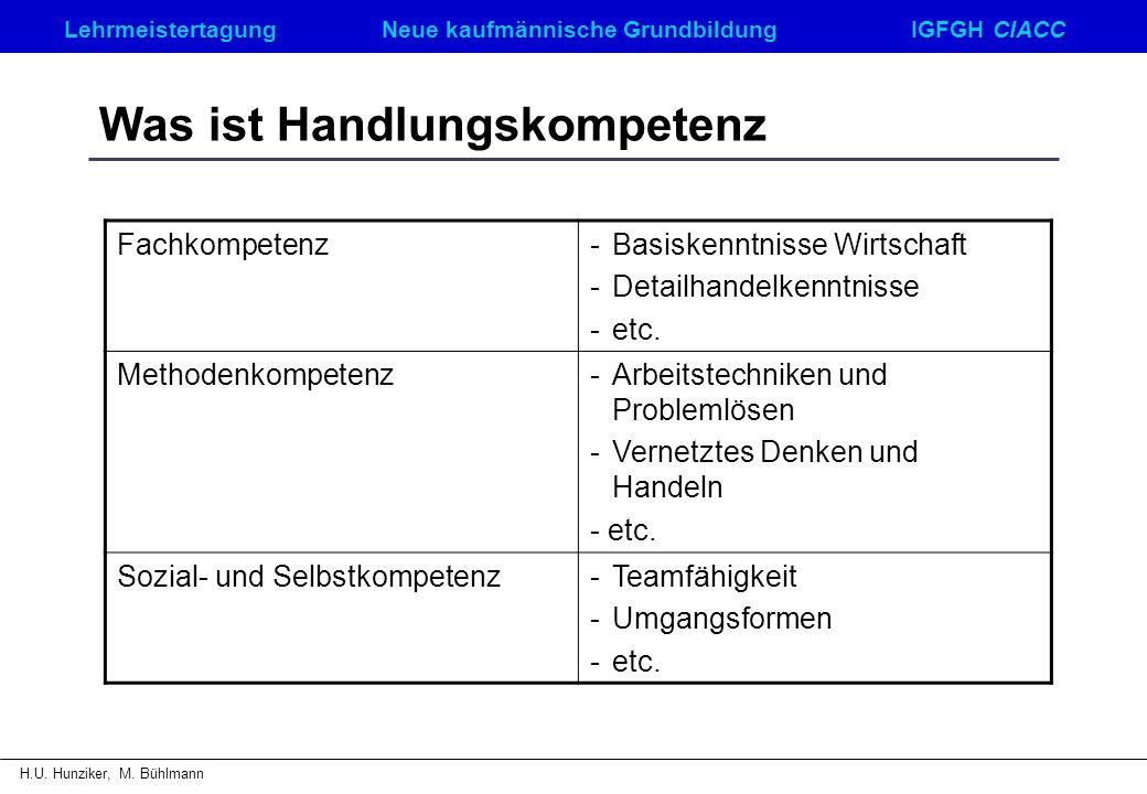 LehrmeistertagungNeue kaufmännische GrundbildungIGFGH CIACC H.U. Hunziker, M. Bühlmann Was ist Handlungskompetenz Fachkompetenz-Basiskenntnisse Wirtsc