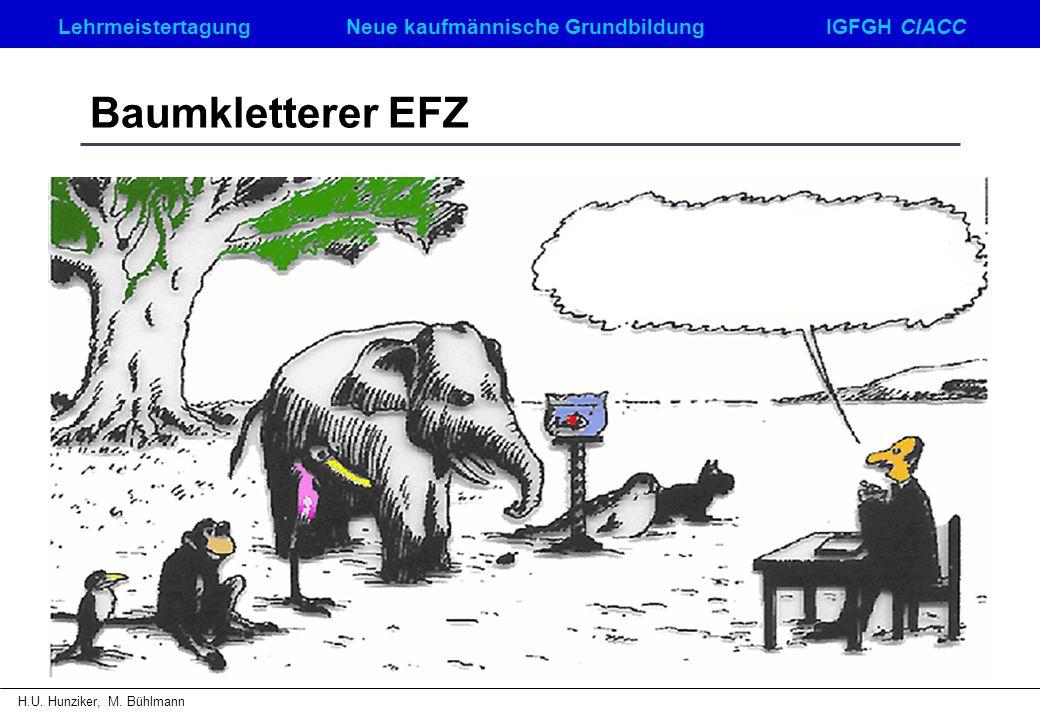 LehrmeistertagungNeue kaufmännische GrundbildungIGFGH CIACC H.U. Hunziker, M. Bühlmann Baumkletterer EFZ