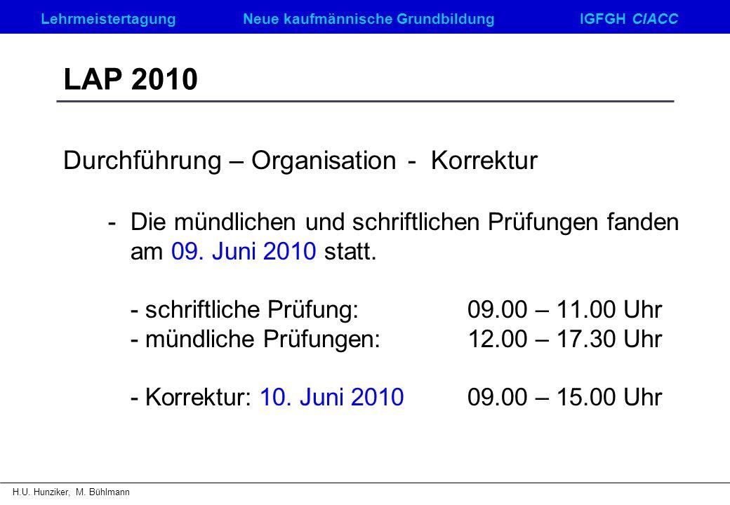 LehrmeistertagungNeue kaufmännische GrundbildungIGFGH CIACC H.U. Hunziker, M. Bühlmann LAP 2010 Durchführung – Organisation - Korrektur - Die mündlich