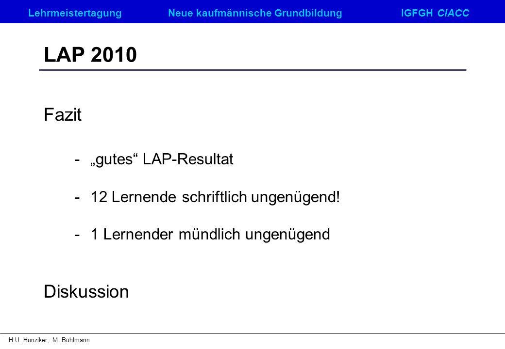 LehrmeistertagungNeue kaufmännische GrundbildungIGFGH CIACC H.U. Hunziker, M. Bühlmann LAP 2010 Fazit -gutes LAP-Resultat - 12 Lernende schriftlich un