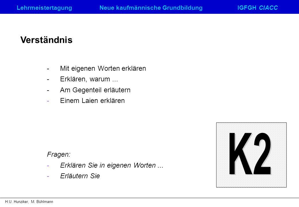 LehrmeistertagungNeue kaufmännische GrundbildungIGFGH CIACC H.U. Hunziker, M. Bühlmann Verständnis - Mit eigenen Worten erklären - Erklären, warum...