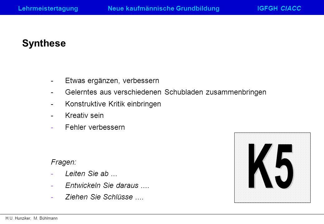 LehrmeistertagungNeue kaufmännische GrundbildungIGFGH CIACC H.U. Hunziker, M. Bühlmann Synthese - Etwas ergänzen, verbessern -Gelerntes aus verschiede