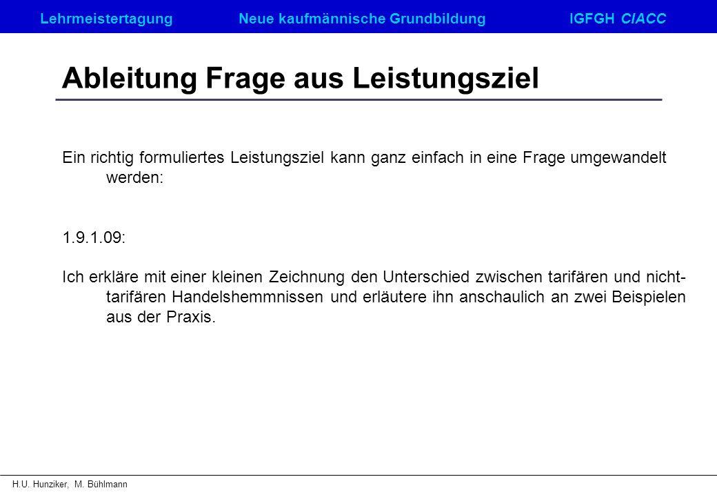 LehrmeistertagungNeue kaufmännische GrundbildungIGFGH CIACC H.U. Hunziker, M. Bühlmann Ableitung Frage aus Leistungsziel Ein richtig formuliertes Leis