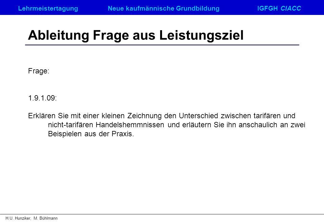 LehrmeistertagungNeue kaufmännische GrundbildungIGFGH CIACC H.U. Hunziker, M. Bühlmann Ableitung Frage aus Leistungsziel Frage: 1.9.1.09: Erklären Sie