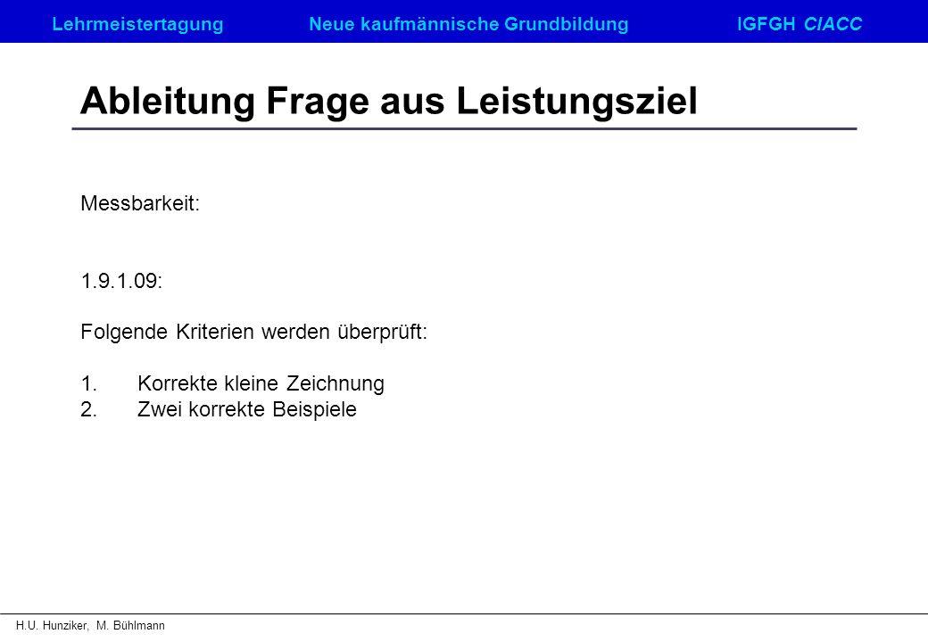 LehrmeistertagungNeue kaufmännische GrundbildungIGFGH CIACC H.U. Hunziker, M. Bühlmann Ableitung Frage aus Leistungsziel Messbarkeit: 1.9.1.09: Folgen