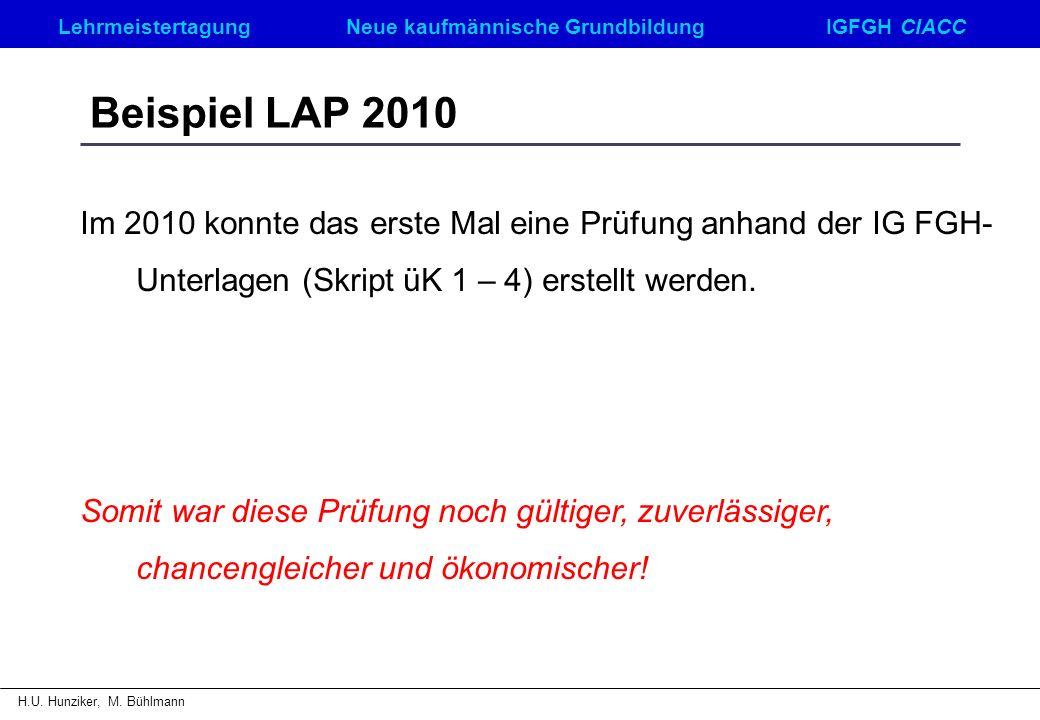 LehrmeistertagungNeue kaufmännische GrundbildungIGFGH CIACC H.U. Hunziker, M. Bühlmann Beispiel LAP 2010 Im 2010 konnte das erste Mal eine Prüfung anh
