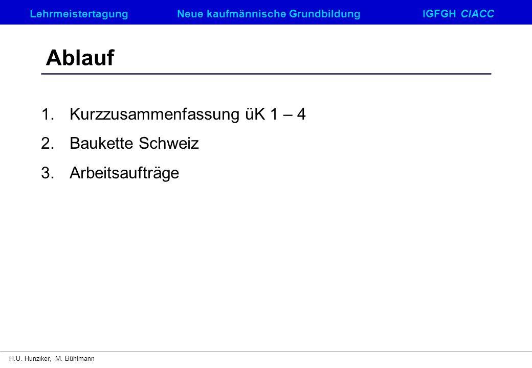 LehrmeistertagungNeue kaufmännische GrundbildungIGFGH CIACC H.U. Hunziker, M. Bühlmann Ablauf 1.Kurzzusammenfassung üK 1 – 4 2.Baukette Schweiz 3.Arbe