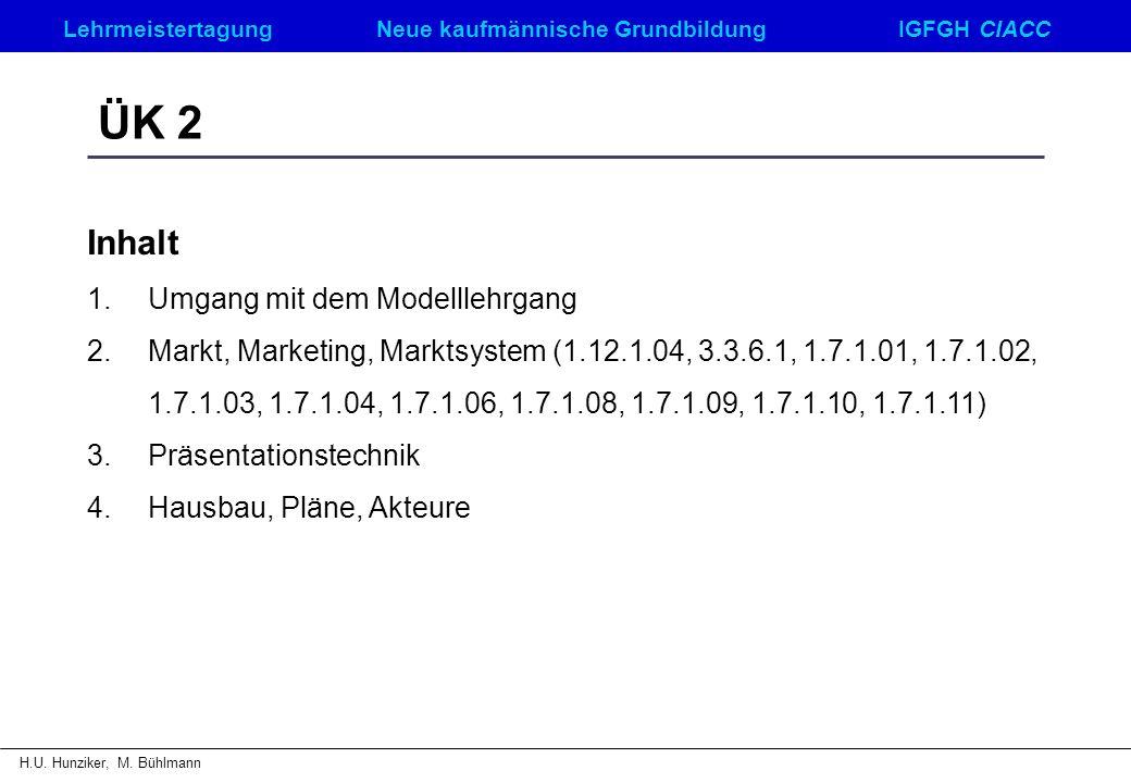 LehrmeistertagungNeue kaufmännische GrundbildungIGFGH CIACC H.U. Hunziker, M. Bühlmann ÜK 2 Inhalt 1.Umgang mit dem Modelllehrgang 2.Markt, Marketing,