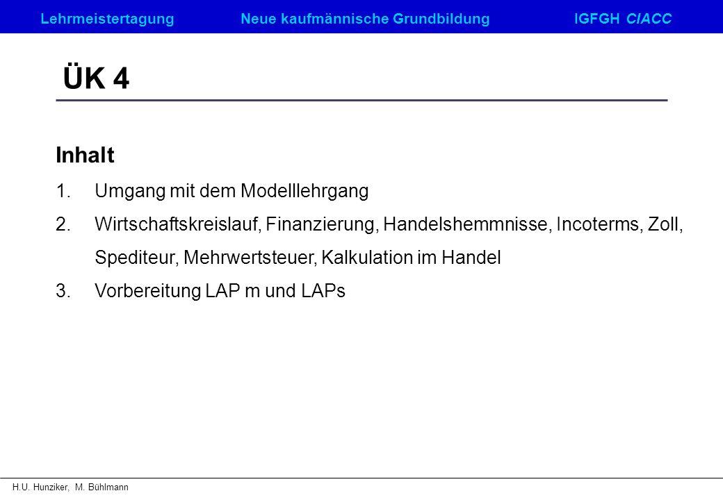 LehrmeistertagungNeue kaufmännische GrundbildungIGFGH CIACC H.U. Hunziker, M. Bühlmann ÜK 4 Inhalt 1.Umgang mit dem Modelllehrgang 2.Wirtschaftskreisl