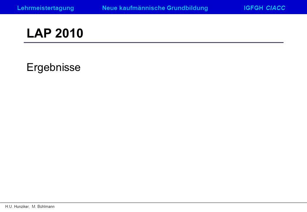 LehrmeistertagungNeue kaufmännische GrundbildungIGFGH CIACC H.U. Hunziker, M. Bühlmann LAP 2010 Ergebnisse