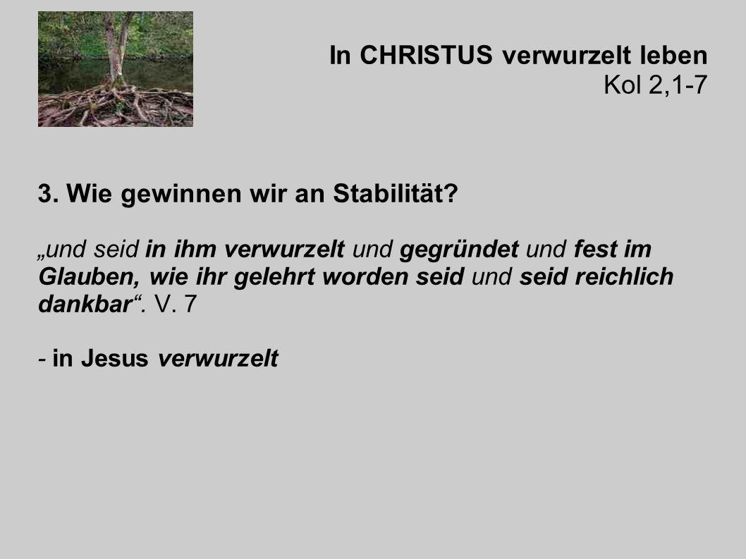 In CHRISTUS verwurzelt leben Kol 2,1-7 3. Wie gewinnen wir an Stabilität.