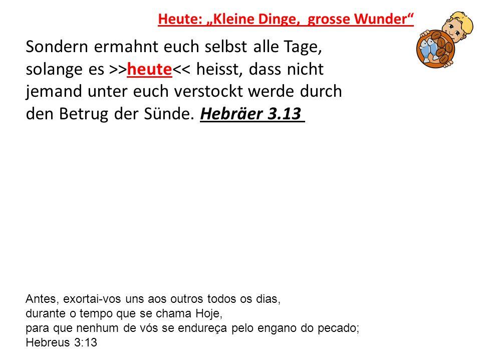 Sondern ermahnt euch selbst alle Tage, solange es >>heute<< heisst, dass nicht jemand unter euch verstockt werde durch den Betrug der Sünde. Hebräer 3