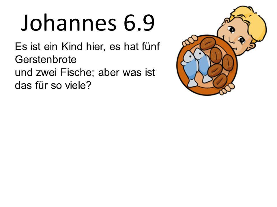 Johannes 6.9 Es ist ein Kind hier, es hat fünf Gerstenbrote und zwei Fische; aber was ist das für so viele