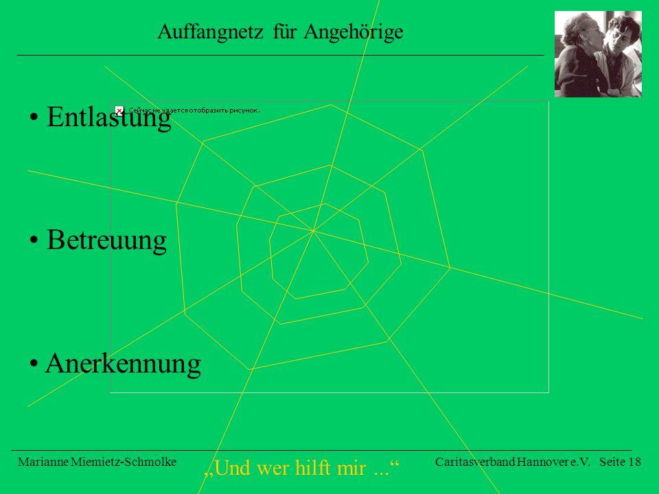Und wer hilft mir... Marianne Miemietz-SchmolkeCaritasverband Hannover e.V. Seite 18 Auffangnetz für Angehörige Entlastung Betreuung Anerkennung