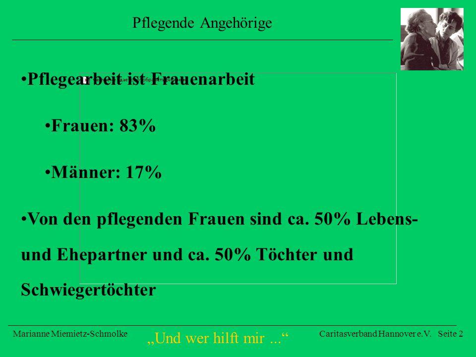 Und wer hilft mir... Marianne Miemietz-SchmolkeCaritasverband Hannover e.V. Seite 2 Pflegende Angehörige Pflegearbeit ist Frauenarbeit Frauen: 83% Män