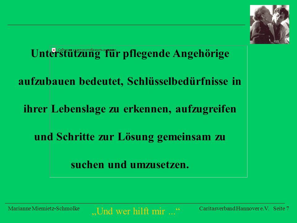 Und wer hilft mir... Marianne Miemietz-SchmolkeCaritasverband Hannover e.V. Seite 7 Unterstützung für pflegende Angehörige aufzubauen bedeutet, Schlüs
