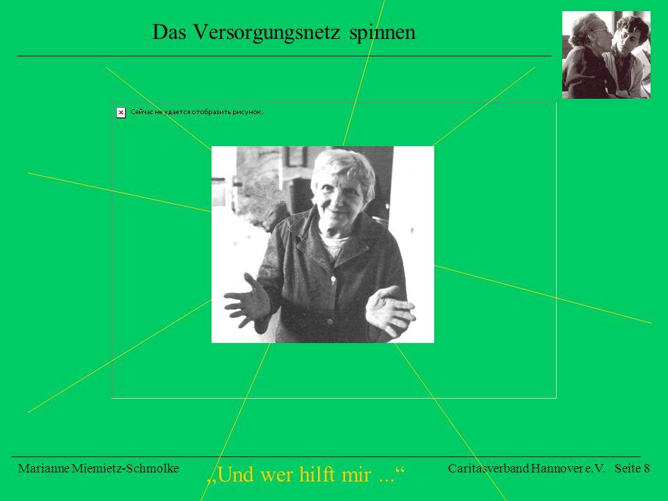 Und wer hilft mir... Marianne Miemietz-SchmolkeCaritasverband Hannover e.V. Seite 8 Das Versorgungsnetz spinnen