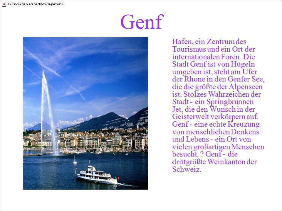 Genf Hafen, ein Zentrum des Tourismus und ein Ort der internationalen Foren.