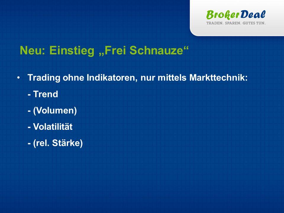 Neu: Einstieg Frei Schnauze Trading ohne Indikatoren, nur mittels Markttechnik: - Trend - (Volumen) - Volatilität - (rel. Stärke)