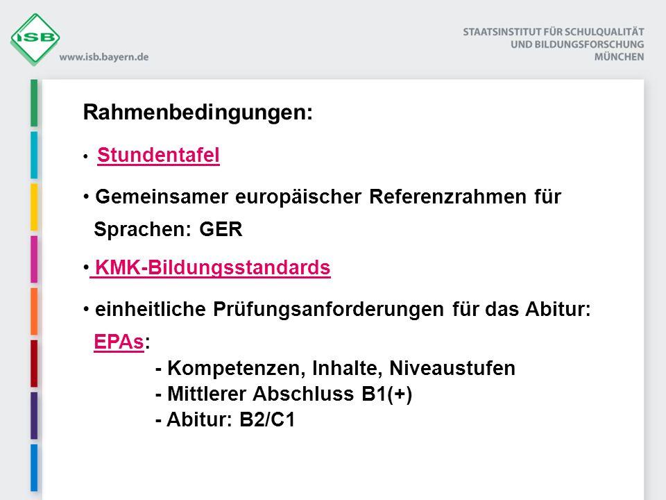 Rahmenbedingungen: Stundentafel Gemeinsamer europäischer Referenzrahmen für Sprachen: GER KMK-Bildungsstandards KMK-Bildungsstandards einheitliche Prü