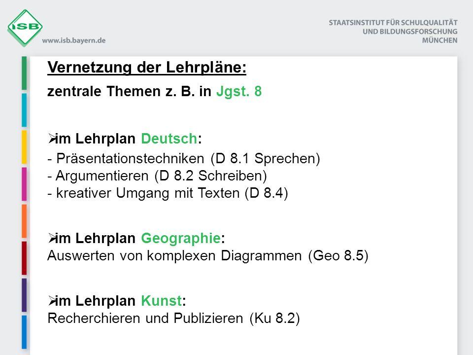 Vernetzung der Lehrpläne: zentrale Themen z. B. in Jgst. 8 im Lehrplan Deutsch: - Präsentationstechniken (D 8.1 Sprechen) - Argumentieren (D 8.2 Schre