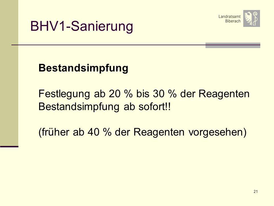 21 BHV1-Sanierung Bestandsimpfung Festlegung ab 20 % bis 30 % der Reagenten Bestandsimpfung ab sofort!! (früher ab 40 % der Reagenten vorgesehen)