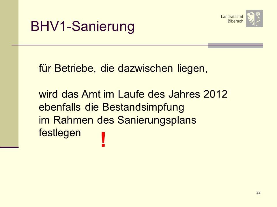 22 BHV1-Sanierung für Betriebe, die dazwischen liegen, wird das Amt im Laufe des Jahres 2012 ebenfalls die Bestandsimpfung im Rahmen des Sanierungsplans festlegen !