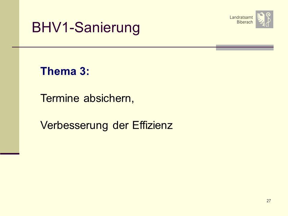 27 BHV1-Sanierung Thema 3: Termine absichern, Verbesserung der Effizienz
