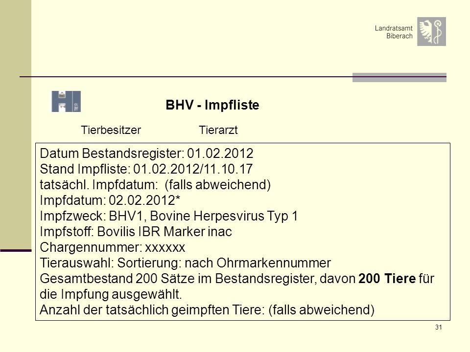 31 BHV - Impfliste TierbesitzerTierarzt Datum Bestandsregister: 01.02.2012 Stand Impfliste: 01.02.2012/11.10.17 tatsächl.