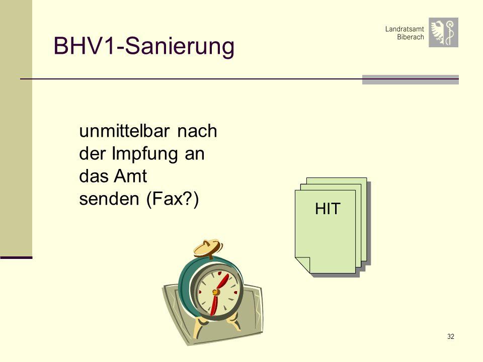 32 BHV1-Sanierung unmittelbar nach der Impfung an das Amt senden (Fax?) HIT