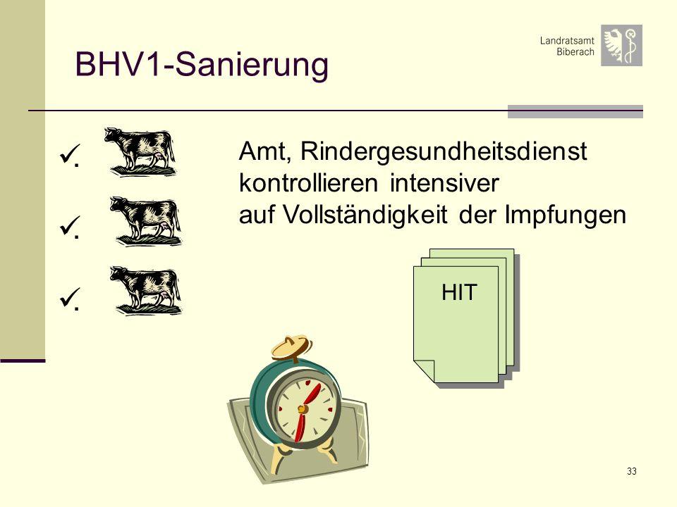 33 BHV1-Sanierung HIT Amt, Rindergesundheitsdienst kontrollieren intensiver auf Vollständigkeit der Impfungen.
