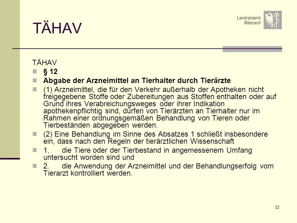52 TÄHAV § 12 Abgabe der Arzneimittel an Tierhalter durch Tierärzte (1) Arzneimittel, die für den Verkehr außerhalb der Apotheken nicht freigegebene S