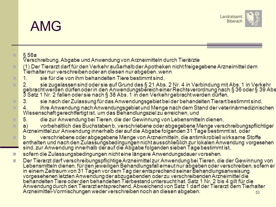53 AMG § 56a Verschreibung, Abgabe und Anwendung von Arzneimitteln durch Tierärzte (1) Der Tierarzt darf für den Verkehr außerhalb der Apotheken nicht